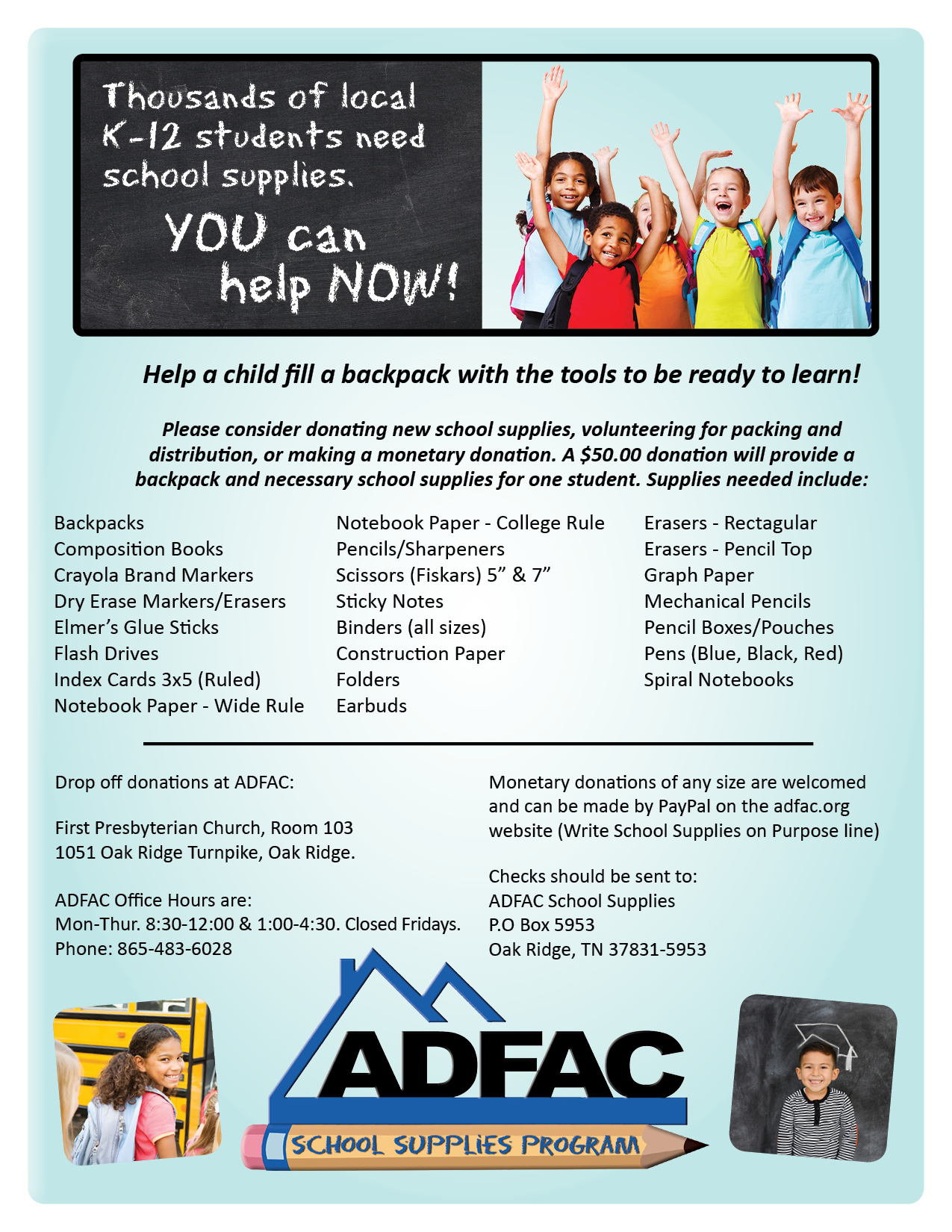 ADFAC's School Supplies Program